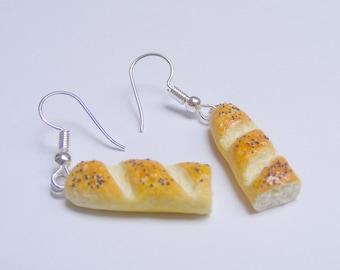 Food Jewelry Bread earrings, Baguette Earrings, Miniature Food Earrings, Mini Food Jewellery, Kawaii Jewelry, Gift for baker, Loaf earrings