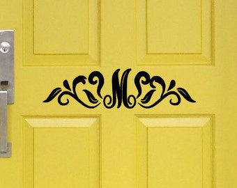 Personalized Inital Vinyl Door Decal Inside Outside