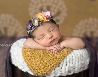 Rainy Day Kisses - beautiful and dainty mulberry flower headband in bubble gum pink, mustard yellow, grey and plum purple (RTS)