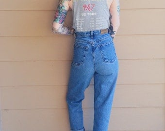 High Waisted 90's Skinny Leg Stretch Tapered Ankle Mom Jeans // Women's size 28 Long Tall
