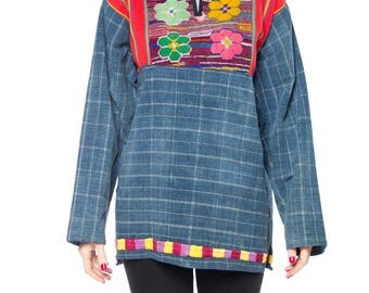 Morphew Lab Indigo Top With Floral Embroidery Size: 8