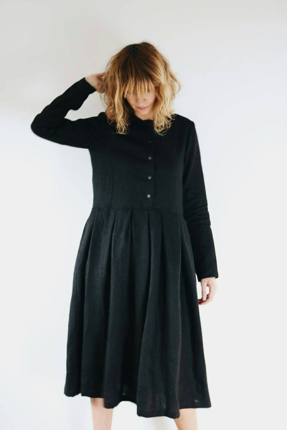 Black Linen Dress Linen Dress Midi Length Linen Dress