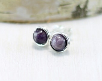 Charoite Earrings, Sterling Silver Purple Stone Earrings Wire Wrapped Charoite Stud Earrings Charoite Jewelry Post Earrings