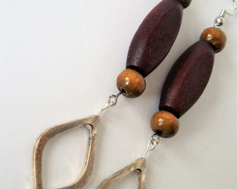 Wood and Metal, Wood Earrings, Wood Jewelry, Mixed Wood, Earthy style, Boho, Bohemian, Farmers Market,