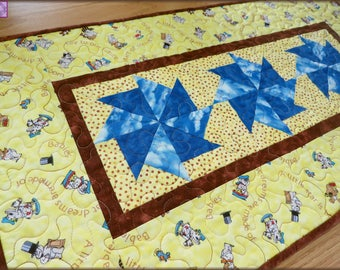 Quilted Baby Nursery Table Runner Quilt Key to the Future 403
