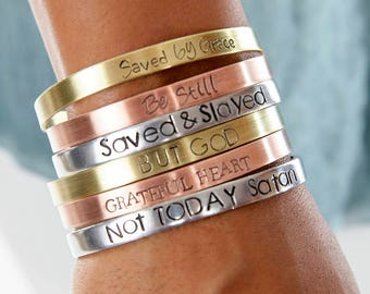 Christian Jewelry | Not Today Satan Christian Cuffs | Hand Stamped Religious Cuff | Engraved Cuffs Expressions Bracelets