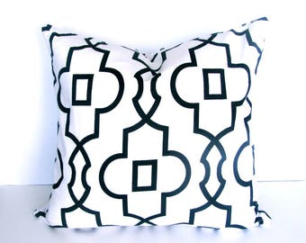 "Black Pillow - Black Chain link Pillow .Black and White Pillow..16"",17"",18"",20"" 24"" 26"", Lumbar Pillow or Euro Sham"