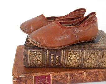 Antique Child or Doll Shoes Brown Leather with Straps and Leather Soles