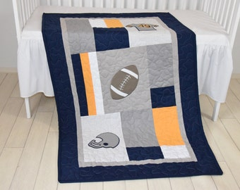 Football Blanket, Baby Boy Sports Crib Bedding, Gray Navy Yellow Football  Comforter, Football Nursery