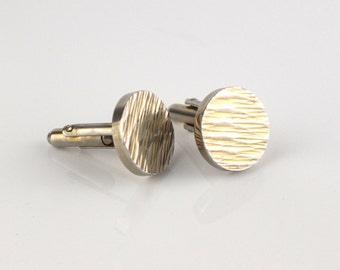 1980s Round Engine Cut Cuff Links Silver Tone Metal Cufflinks