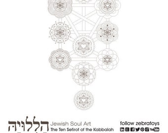 The Kabbalah Ten 10 Sephirot-Sacred Geometry Art-Passover Coloring Page-1 Printable-Tree of Life-Etz haChayim-INSTANT DOWNLOAD by @zebratoys