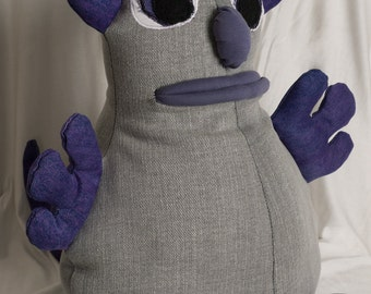 Cuddly boo monster plushie made from eco friendly vintage denim