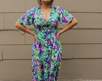 1940s tropical flowers w/ flutter sleeves size 7/8