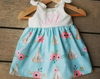 Teepee dress, girls monogrammed boho dress, boho birthday, personalized, boho teepee coming home outfit outfit, gift, baby shower gift