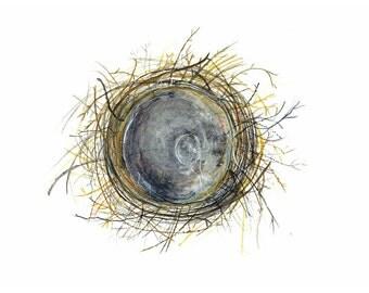 Watercolour Nest, Bird's Nest Print, Bird Nest Art, Woodland Painting, Nature Lover Gift, Giclee Print, Rustic Art, Winter Owls