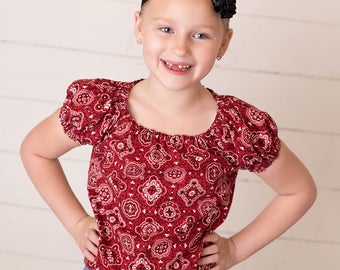 Girl's blouse, Peasant blouse,  bandanna shirt, MADE TO ORDER, Costume, Girl's clothing, children's clothes, Cowgirl shirt, Western,clothes,