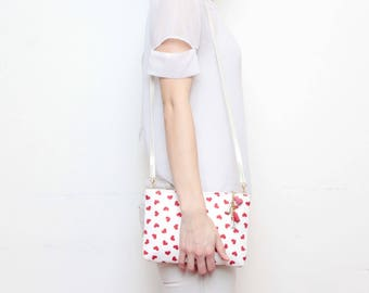 SALE /MODEST 2 /Cotton fabric purse-cross body bag-leather shoulder bag-tassel pull purse-white red- heart print -minimalist bag