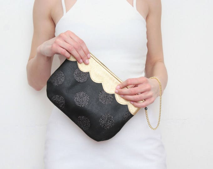SWEET / Small purse-clutch bag-leather purse-evening bag-scalloped leather-wrist strap bag-bride bag-glitter fabric-black gold-Ready to Ship