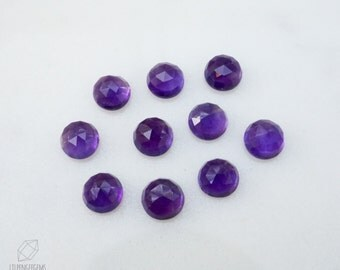 6mm African Amethyst rose faceted cabochon. rose cut purple cab amethyst gemstone royal dark purple violet cab