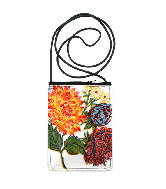 White, floral, oil cloth, small cross body, vegan leather, zipper top, passport bag