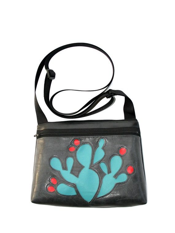 blue cactus, red blooms, grey, boxy cross body, vegan leather, zipper top