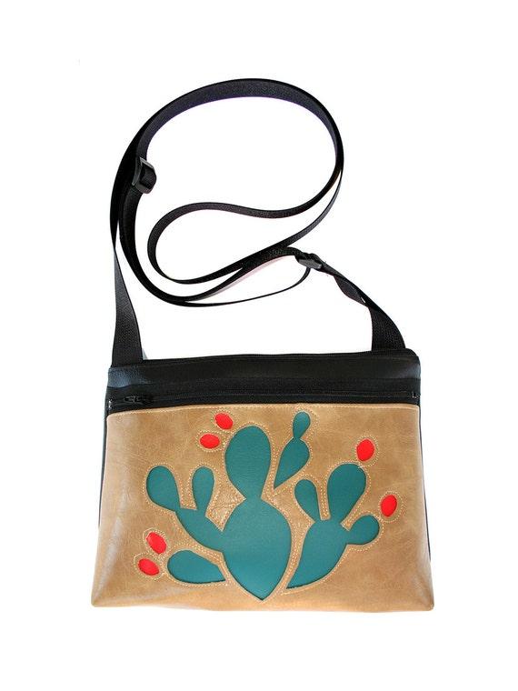 blue cactus, red blooms, distressed tan vinyl, boxy cross body, vegan leather, zipper top