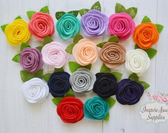"1.5"" felt roses with leave, felt flowers, felt appliqué, DIY headband supply, DIY flowers, felt headband, felt embellishment"