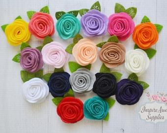 "1.5"" felt roses with leave, felt flowers, felt appliqué, DIY headband supply, DIY flowers, felt headband, felt embellishment"