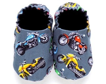 Motorcycle Baby Boy Shoes, Soft Sole Shoes, 0-6 mos. Baby Shoes, Slip on Baby Boy Shoes, Motorcycle Baby Booties, Motorcycle Baby Gift