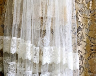 soft white & taupe vintage sheer lace tulle wedding dress by mermaidmisskristin