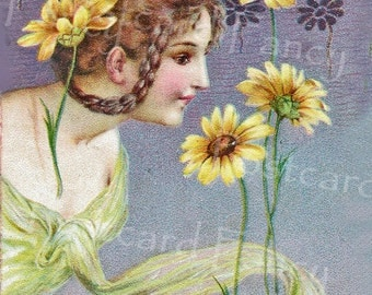 Art Nouveau Pretty Girl with Sunflowers, Instant DIGITAL Download, Vintage Postcard, Printable Image