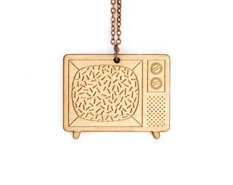 Vintage television necklace - retro tv set pendant - graphic jewelry - vintage technology - nostalgic - lasercut maple wood