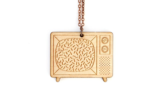Vintage television necklace - retro tv set pendant - graphic jewelry - vintage technology - nostalgic - lasercut maple wood