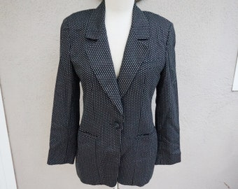 Vintage Black Blazer, Polka Dot Blazer, Unique Blazer, Patterned Blazer