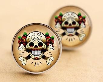 Sugar & Roses Cufflinks - Steel Silver, Web, Halloween Day of the Dead, Rockabilly Cufflinks, Tattoo Cufflinks, Sugarskull, Wedding, Groom