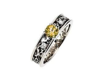Citrine filigree ring, diamond engagement ring, wedding ring, citrine, filigree engagement, white gold, yellow gold, rose gold, orange gems