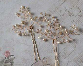 Bridal Hair Pin, Pearl Headpiece, Pearl Wedding Hair Pin, Pearl Hair Pin, Gold Hair Pins, Gold Bridal Pins, White Pearl Hair Pin