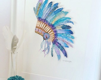 Native American Headdress  Watercolor Print Feather Headdress Art with Crystals Nursery Art Headdress Print Tribal Art Indian Headdress