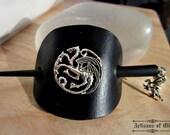 Game of Thrones Khaleesi Hair Slide, Three Dragons, Black Leather Barette, House Targaryen