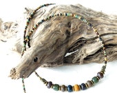 Beaded necklace - multicolored rustic picasso & antiqued bronze beads