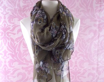 moss green scarf/ light abstract skull infinity scarf