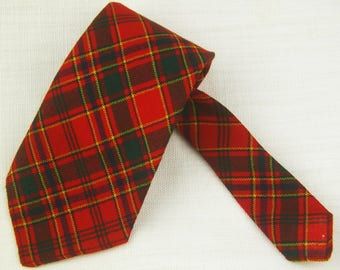 MUNRO Clan Vtg 70s Red Tartan Plaid Wide Necktie Cravat