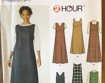 UNCUT Misses' Jumper in Two Lengths Sewing Pattern Simplicity 9830 Size 6-8-10-12 Modest Dress, Midi Dress, Ankle Length, Dress