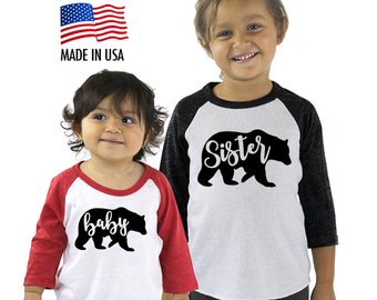 Baby, Sister, Brother Bear Sibling Tri-blend Raglan Baseball Shirt - Infant, Toddler, Kid, Youth sizes