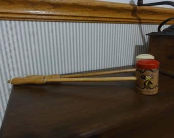 Mid-Century Pair of Long Handled Salt & Pepper Shakers, Rooster, Woodpecker Wood Ware, Japan, vintage bbq shakers #747