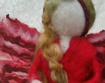 Red Silk Fairy, Waldorf Style, Needle Felted, Beautiful, Unique Silk & Wool Faerie Decorative Doll. Nature Corner, silk by MandalaYarn