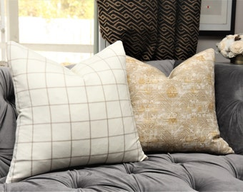 Tan & Ivory Check Plaid Pillow Cover -Tan Ivory Wool Pillow Cover - Holland and Sherry