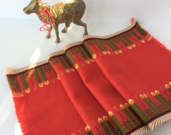 Vintage Christmas Table Runner, Christmas Runner, Red Table Runner, Woven Table Runner, German Christmas Runner Advent Candle Runner,