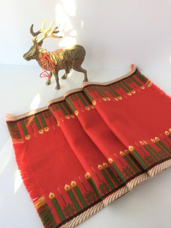 Vintage Christmas Table Runner Christmas Runner Red Table