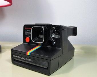Polaroid Camera 1000 Supercolor 1000 Deluxe Black color Red button SX-70 type instant film with Original Grey Polaroid Soft Bag Retro Camera